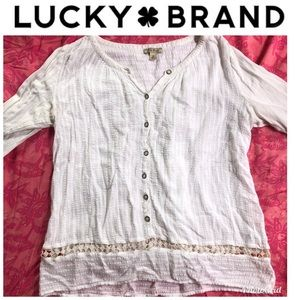 Lucky Brand Boho Top Blouse Size M